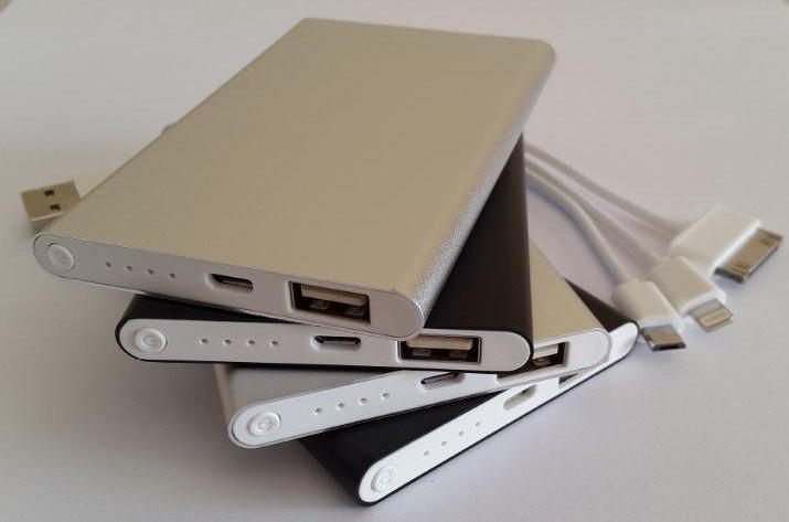 4000 mAh Ultra slimline power banks 3 in 1 cables